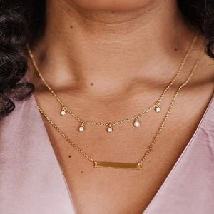 NEW Fosterie   Gold Layered Gem Necklace
